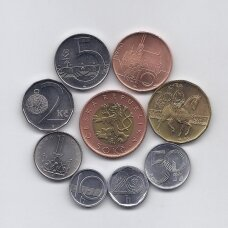 ČEKIJA 1993 - 2003 m. 9 monetų rinkinys