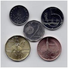 ČEKIJA 5 monetų rinkinukas 1 - 20 korunų (2 korunos iš apyvartos)