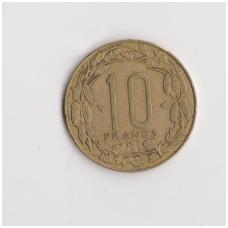 CENTRINĖ AFRIKA 10 FRANCS 1975 KM # 9 VF
