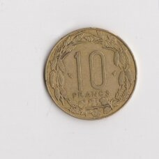 CENTRINĖ AFRIKA 10 FRANCS 1977 KM # 9 VF