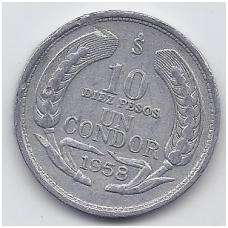 ČILĖ 10 PESOS 1958 KM # 181 VF