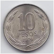 ČILĖ 10 PESOS 1979 KM # 210 VF