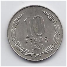 ČILĖ 10 PESOS 1980 KM # 210 XF