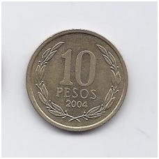 ČILĖ 10 PESOS 2004 KM # 228 VF/XF