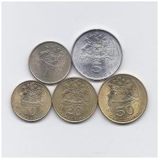 ČILĖ 1971 -1972 m. 5 MONETŲ RINKINYS