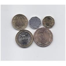ČILĖ 1992 - 2006 m. 5 monetų komplektas