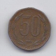 ČILĖ 50 PESOS 1989 KM # 219.2 VF
