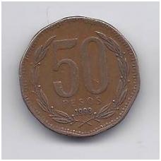 ČILĖ 50 PESOS 1993 KM # 219.2 VF