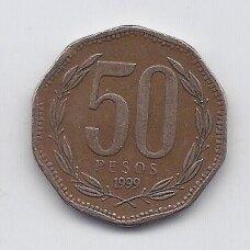 ČILĖ 50 PESOS 1999 KM # 219.2 VF