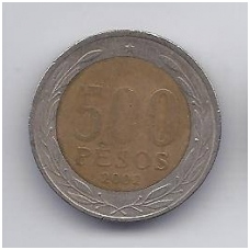 ČILĖ 500 PESOS 2002 KM # 235 VF
