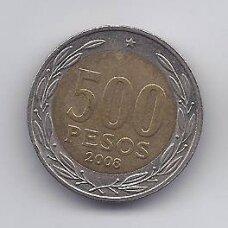 ČILĖ 500 PESOS 2008 KM # 235 VF