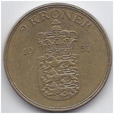 DANIJA 2 KRONER 1957 KM # 838.2 VF