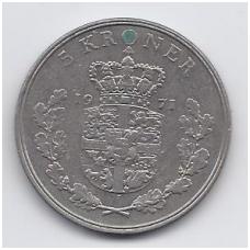 DANIJA 5 KRONER 1971 KM # 853.1 VF / XF