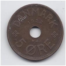 DENMARK 5 ORE 1928 KM # 828.2 VF