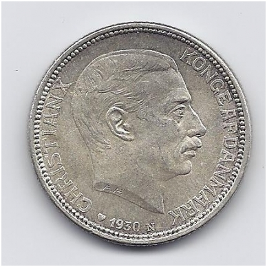 DANIJA 2 KRONER 1930 KM # 829 XF Karaliaus 60asis gimtadienis 2