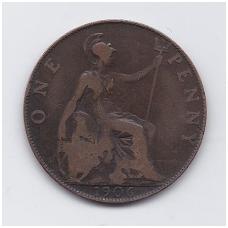 DIDŽIOJI BRITANIJA 1 PENNY 1906 KM # 794.2 VF