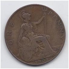 DIDŽIOJI BRITANIJA 1 PENNY 1909 KM # 794 VF