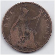 DIDŽIOJI BRITANIJA 1 PENNY 1917 KM # 810 F/VF