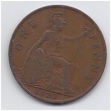 DIDŽIOJI BRITANIJA 1 PENNY 1927 KM # 826 F/VF