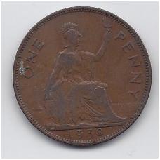 DIDŽIOJI BRITANIJA 1 PENNY 1938 KM # 845 VF