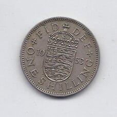 DIDŽIOJI BRITANIJA 1 SHILLING 1953 KM # 890 VF