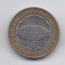DIDŽIOJI BRITANIJA 2 POUNDS 1999 KM # 999 VF Regbio Pasaulio Taurė