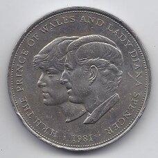 DIDŽIOJI BRITANIJA 25 PENCAI 1981 KM# 925 VF KARALIŠKOS VESTUVĖS