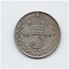 DIDŽIOJI BRITANIJA 3 PENCE 1920 KM # 813 / 813a VF