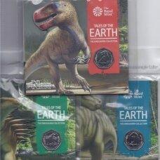 DIDŽIOJI BRITANIJA 3 X 50 PENCE 2020 KM # new BU Dinozaurai