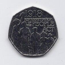 DIDŽIOJI BRITANIJA 50 PENCE 2018 KM # NEW AU 1918 m. AKTAS