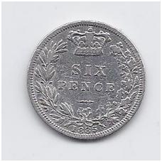DIDŽIOJI BRITANIJA 6 PENCE 1885 KM # 757 VF