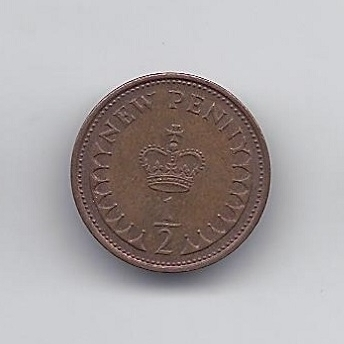 GREAT BRITAIN 1/2 NEW PENNY 1974 KM # 914 VF
