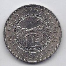 DOMINIKOS RESPUBLIKA 1 PESO 1969 KM # 33 UNC 125 m. Respublikai