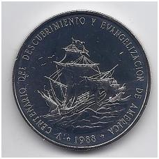 DOMINIKOS RESPUBLIKA 1 PESO 1988 KM # 66 UNC ATRADIMAS IR EVANGELIZACIJA