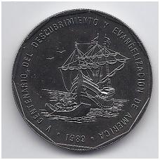 DOMINIKOS RESPUBLIKA 1 PESO 1989 KM # 74 UNC ATRADIMAS IR EVANGELIZACIJA