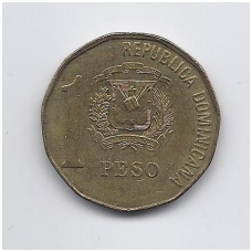 DOMINIKOS RESPUBLIKA 1 PESO 1991 KM # 80.1 VF-XF