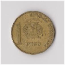 DOMINIKOS RESPUBLIKA 1 PESO 1992 KM # 80.1 F