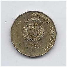 DOMINIKOS RESPUBLIKA 1 PESO 1992 KM # 80.1 VF-XF