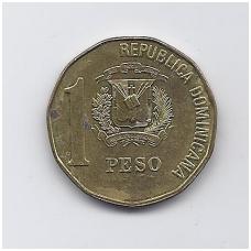 DOMINIKOS RESPUBLIKA 1 PESO 1992 KM # 80.2 VF-XF