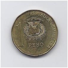 DOMINIKOS RESPUBLIKA 1 PESO 1993 KM # 80.2 VF-XF