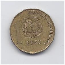 DOMINIKOS RESPUBLIKA 1 PESO 2000 KM # 80.2 VF