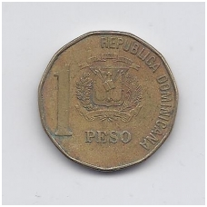 DOMINIKOS RESPUBLIKA 1 PESO 2005 KM # 80.2 VF