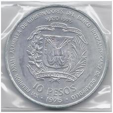 DOMINIKOS RESPUBLIKA 10 PESOS 1975 KM # 37 UNC BANKININKŲ KONGRESAS