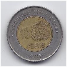 DOMINIKOS RESPUBLIKA 10 PESOS 2005 KM # 106 VF