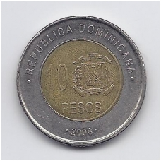 DOMINICAN REPUBLIC 10 PESOS 2008 KM # 106 VF