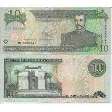 DOMINIKOS RESPUBLIKA 10 PESOS ORO 2003 P # 168c AU