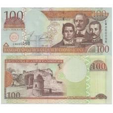 DOMINIKOS RESPUBLIKA 100 PESOS ORO 2002 P # 171b AU