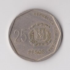 DOMINICAN REPUBLIC 25 PESOS 2005 KM # 107 VF