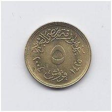 EGIPTAS 5 PIASTRES 2004 KM # 941 XF