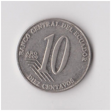EKVADORAS 10 CENTAVOS 2000 KM # 106 VF